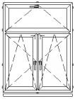 Atverčiamas ir atidaromas trijų dalių langas L-11