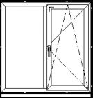 Atidaromas ir atverčiamas dviejų dalių langas L-2